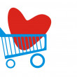 Shopping basket with heart — Stock Vector