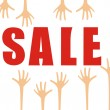 Sale poster with hands - Stock Vector