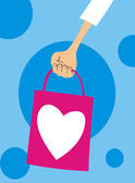 Hand holding shopping bag — Vector de stock