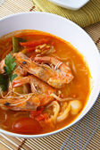 Thai food, Noodles in Sour and spicy shrimp soup — Stock Photo
