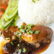Thai food Chicken stew and Steamed rice. - Stock Photo