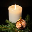 Christmas decoration with twig of spruce on the black background. — Stock Photo #16270349