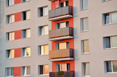 New facade on block of flats. Close view. — Stock Photo