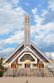 Zilina, Slovakia. Modern christian church with heaven in background — Stock Photo