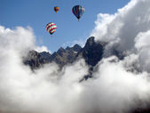 Hot-air Balloons over the Alps — Stock Photo