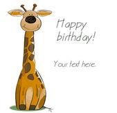 Carta di compleanno con giraffa felice. — Vettoriale Stock