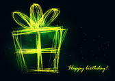 Stylish present box made of neon line. — Vetor de Stock