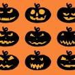 Stock Vector: Set of Halloween pumpkins