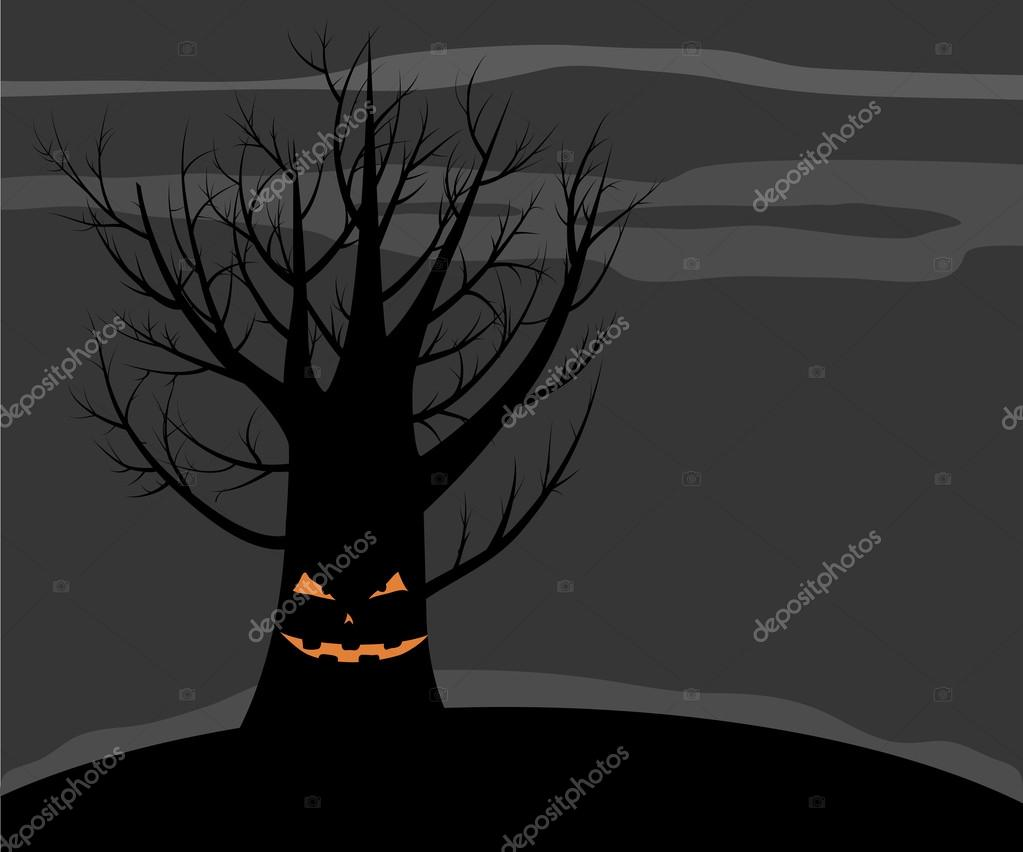 Scary vector tree with a smile. Dark Halloween background. — Grafika wektorowa #12642245