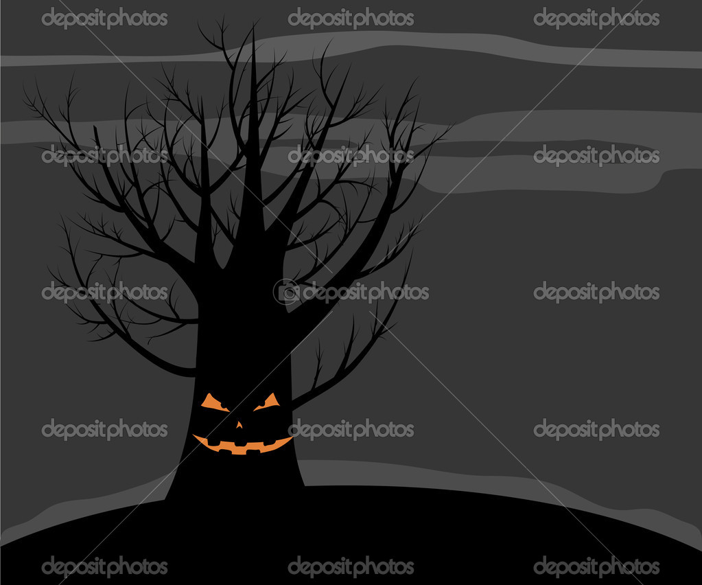 Scary vector tree with a smile. Dark Halloween background. — Векторная иллюстрация #12642245