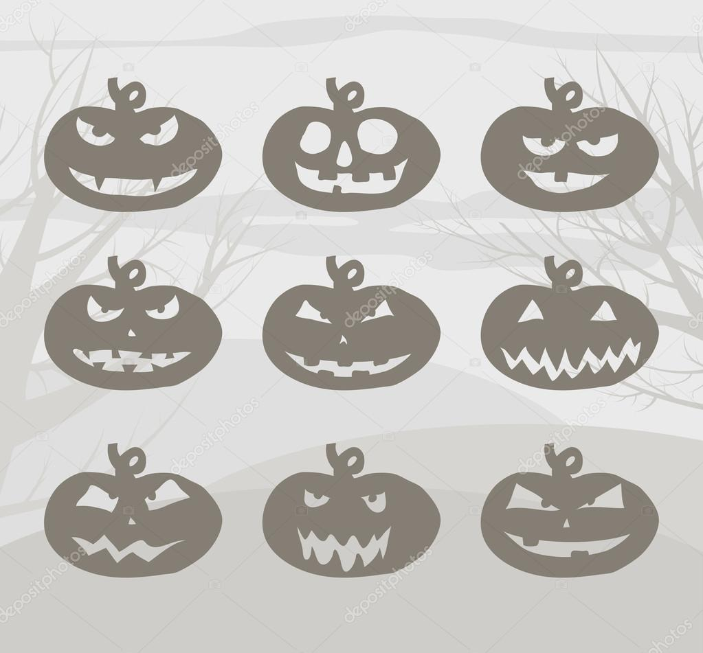 Set of Halloween pumpkins  Stock Vector #12642247
