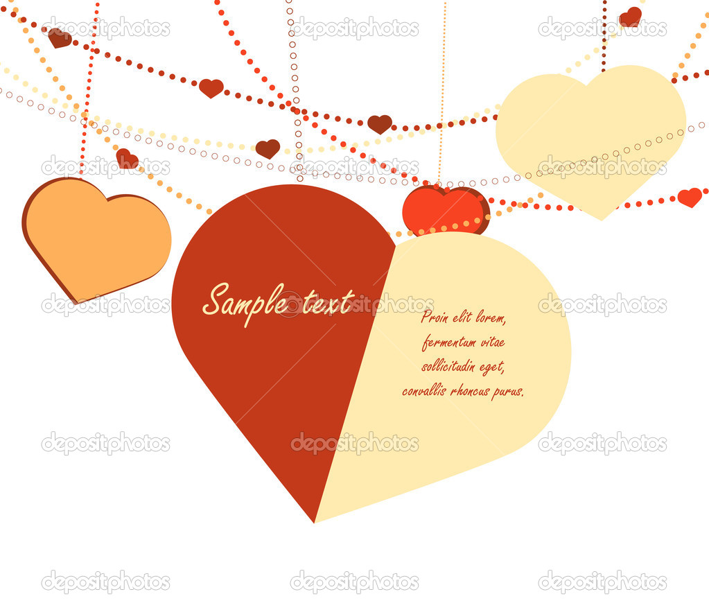 Vector valentine card with hearts handing down from horizontal garlands. — Stock Vector #13472520