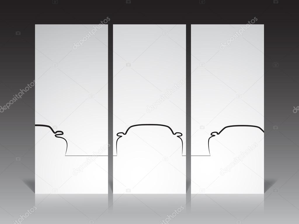 Set of three monochrome car contour backgrounds, EPS10 vector image. — Stock Vector #14244519