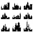 Vector de stock : Set of casle silhouettes