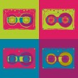 Stock Vector: Tape cassettes