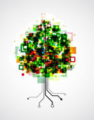 Pixel tree — Stock Vector