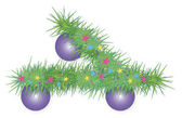 Branche d'arbre de Noël festif — Vecteur