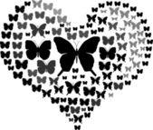 Heart of butterflies — Stock Vector