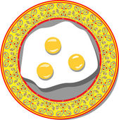Eggs lying on a beautiful plate — Stock Vector