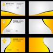 Business Card Set Yellow - Stock Photo