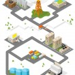 City. Isometric buildings. Vector. — Stock Vector