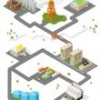 City. Isometric buildings. Vector. — Stock Vector