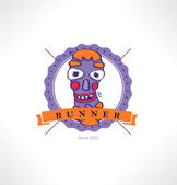 The Runner icon. Template for style. Running club. — Stok Vektör