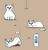 Cats Catching flies and milk — Stock Vector
