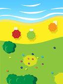 パラソル、草、花、木と海の太陽白樺 — ストックベクタ