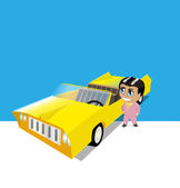 Yellow old car and people — Vector de stock