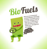 Monster environmentalist happy with his car on bio-fuel. — Stock Vector