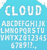 Font 'Cloud'. Hand written alphabet — Stock Vector