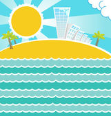 Summer sea landscape. Vector. — Stock Vector