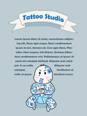 Vector baby with tattoos — Stok Vektör