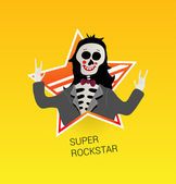 Icon skeleton rock-star. — Stock Vector