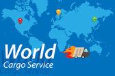 Cargo Service Truck Flat Illustration. — Stock Vector