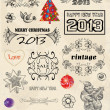 Vintage set of Christmas 2013 Set of calligraphic and typographic elements, frames, vintage labels. — Stock Vector