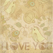 Stock Vector: Love Card. Old paper, with birds and flowers