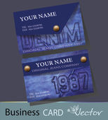 Blue, denim, jeans, Business-Card Set, EPS10 Vector Design — Stock Vector