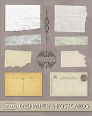 Set of Different Vintage, old paper & postcards — ストックベクタ