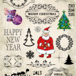 Christmas decoration collection. Set of calligraphic and typographic elements, frames, vintage labels, all for design. — Stock Vector