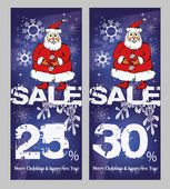 Christmas sale, a set of banner with Santa — Stockvektor