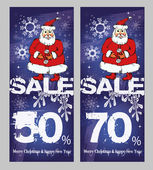 Christmas sale, a set of banner with Santa — Stok Vektör