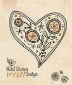 Vector, hart, valentine, hand getrokken elementen. — Stockvector