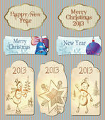 Vector, set christmas and new year labels. — Stock Vector
