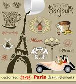 Vector set. Paris, design elements — Stock Vector