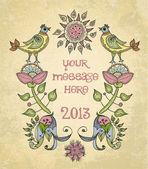 Vector, sua mensagem, quadro vintage com flores e pássaros, etiqueta — Vetorial Stock