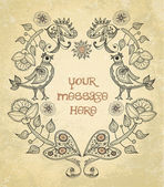 Vector, your message, vintage frame with flowers and birds, label — Stock Vector
