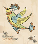 Decorative bird design element — Vector de stock
