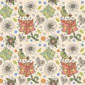 çiçekler ve kuşlar ile sorunsuz bir doku. dikişsiz desen duvar kağıdı, desen dolgularını, web sayfası arka planı, yüzey dokuları için kullanılabilir. çok güzel sorunsuz çiçek arka plan — Stok Vektör